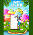 cartoon bunny waving hand with blank sign in the f vector image