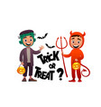 cartoon children monster and devil costume trick vector image vector image