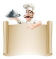 cartoon cook menu scroll vector image vector image