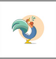 cartoon rooster digital animal farm for background vector image vector image