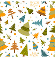 Christmas tree seamless pattern Flat design Colour vector image