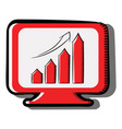 computer computer screen and growth chart icon vector image
