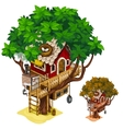 Cosy house built on large tree isolated vector image vector image
