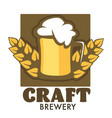craft brewery isolated emblem beer mug with foam vector image