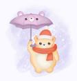 cute babear and umbrella in winter season vector image vector image