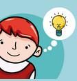 cute boy with idea cartoon vector image vector image