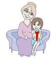 Cute girl opening gift presented by grandmother vector image vector image