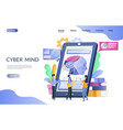 cyber mind website landing page design vector image
