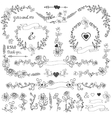 Doodles floral decor setBorderscornerelements vector image vector image