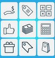 e-commerce icons set with like badge gift and vector image vector image