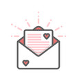 envelope with hearts and letter thin line icon vector image