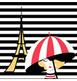 fashion girl with umbrella in paris vector image