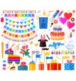 happy birthday surprise party cartoon presents vector image