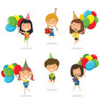jumping girls carrying colorful wrapped gift vector image vector image