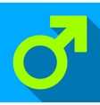 Male Symbol Flat Long Shadow Square Icon vector image