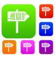 mexico wooden direction arrow sign set color vector image