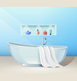 modern bathroom interior with bath and accessories vector image vector image