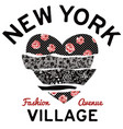 new york village typography patchwork hearth vector image