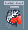 packing of smoked salmon vector image
