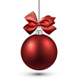 Red christmas bauble with bow vector image vector image