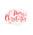 red christmas hand written lettering card with vector image vector image
