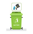 rubbish container for batteries waste icon recycle vector image