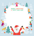 santa claus with kids or children playing snow vector image vector image