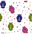 Seamless with different stylized owls vector image vector image