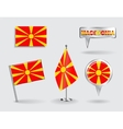 Set of Macedonian pin icon and map pointer flags vector image vector image