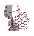 sticker line glass of wine with grape icon vector image vector image