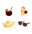straw hat sunglasses ice cream coconut cocktail vector image vector image