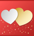 white and gold heart on red background ideal for vector image vector image