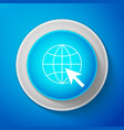 white go to web icon globe and cursor vector image