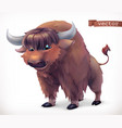 yak buffalo cartoon character funny animal 3d icon vector image vector image