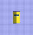 Yellow door on violet wall vector image