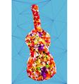Abstract vivid colorful polygonal guitar shape vector image