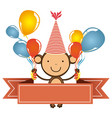 color monkey with bolloons in the hands party and vector image