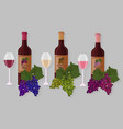 wine bottles sets white wine rose vector image