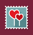 two red heart lollipops stamp vector image