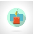 Red wax candle flat color icon vector image