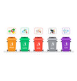 rubbish container for sorting waste icon set vector image