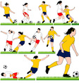 12 Female Soccer Silhouettes Set vector image vector image