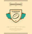 american football poster in retro style with vector image vector image