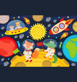 animals on moon in rocket and spacecraft vector image vector image