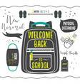 black silhouette welcome back to school icons set vector image