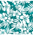 Blue and white tropical flowers silhouettes vector image vector image