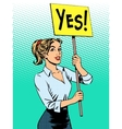 businesswoman policy protest with a poster yes vector image vector image