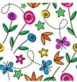 Cartoon seamless pattern with flowers and butterfl vector image