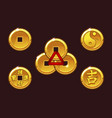 china coins set golden coin in-yan vector image