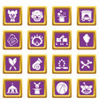 circus icons set purple square vector image vector image